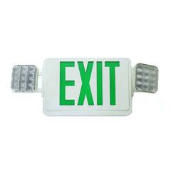 LED Emergency Exit Sign w/ Dual Adjustable LED Heads, White w/ Green Lettering