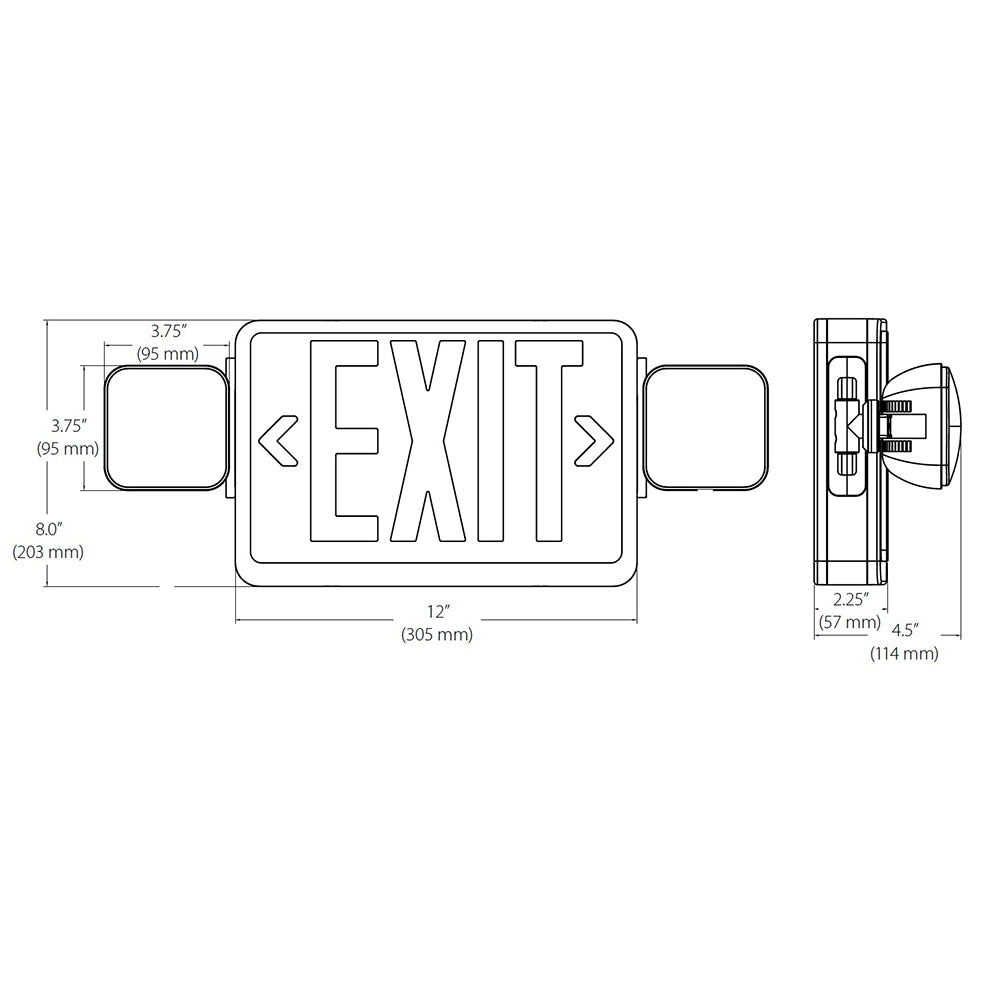 NICOR Remote Capable LED Emergency Exit Sign with Dual