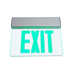 EXL2 Series Edge Lit LED Emergency Exit Sign, Clear with Green Lettering