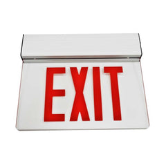 EXL2 Series Edge Lit LED Emergency Exit Sign, Clear with Red Lettering