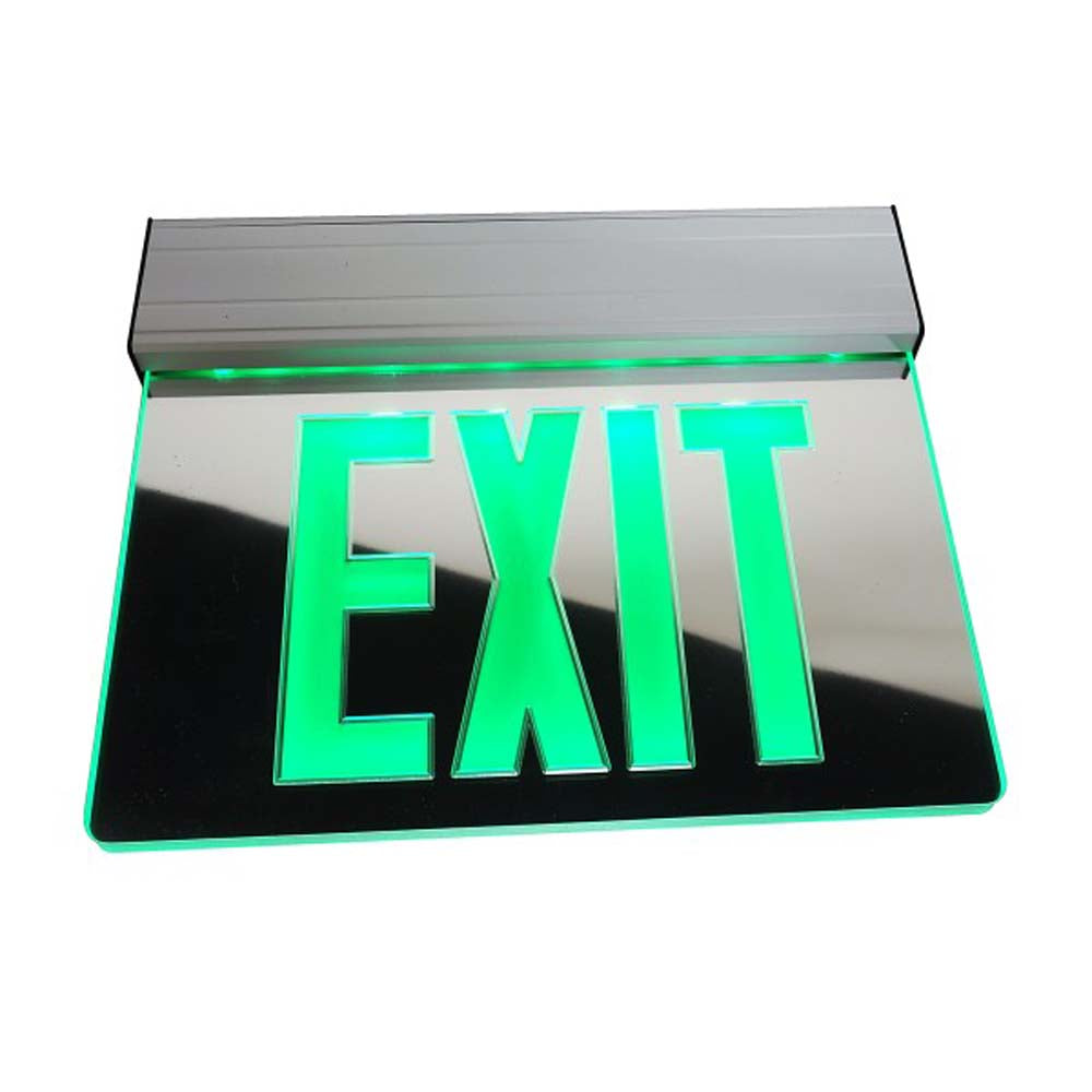 EXL2 Series Edge Lit LED Emergency Exit Sign, Mirrored with Green Lettering