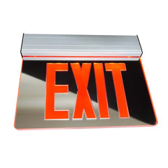 EXL2 Series Edge Lit LED Emergency Exit Sign, Mirrored with Red Lettering
