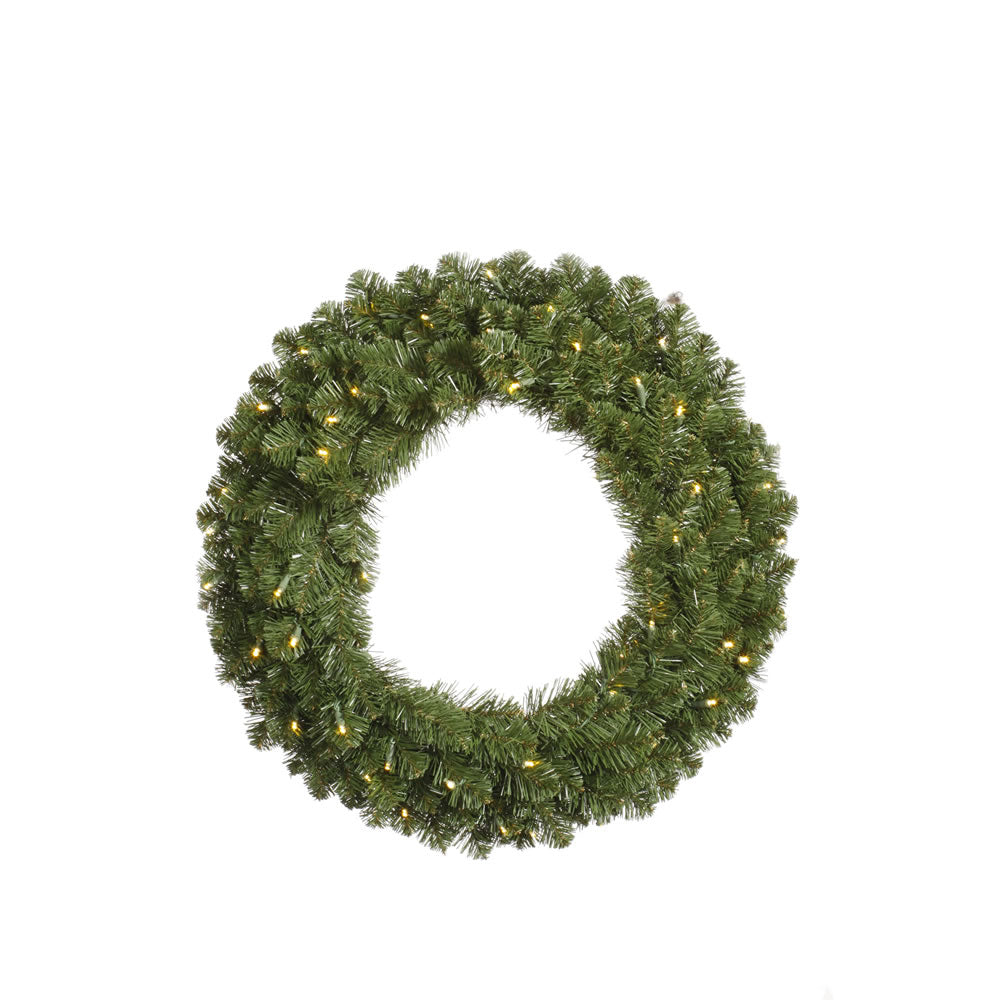Vickerman 48in. Green 1020 Tips Wreath 400 Warm White Wide Angle LED