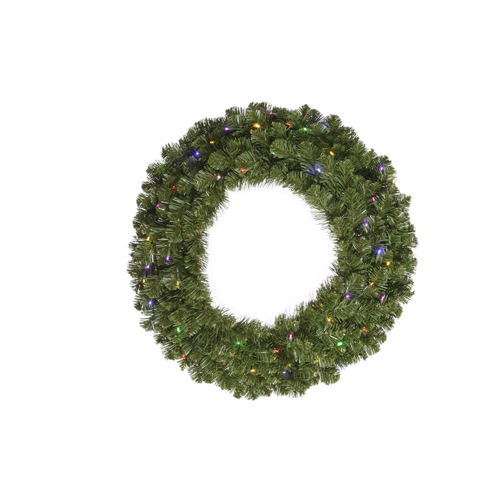 Vickerman 36in. Green 210 Tips Wreath 100 Multi-color Wide Angle LED