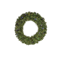 Vickerman 144in. Green 4380 Tips Wreath 1800 Multi-color Wide Angle LED
