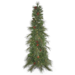 10.5Ft. Big Cascade Pine Slim Green Christmas Tree 700 Warm White LED Lights