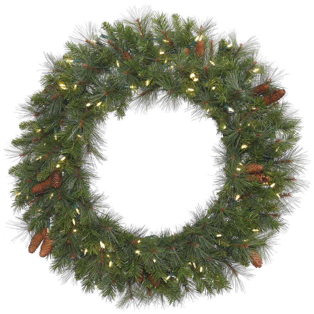 30in. Prelit Lights Savannah Mixed Pine/Cones Wreath 180 Tips 50 Clear Lights