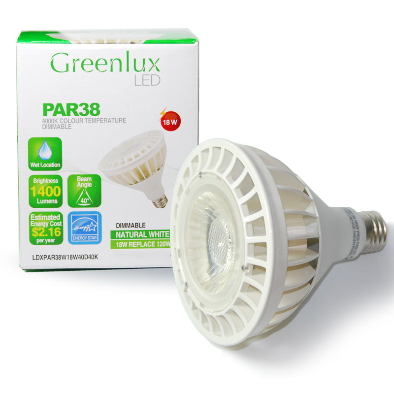 High Quality LED 18w Dimmable PAR38 Natural White Waterproof Bulb - 120w Equiv.