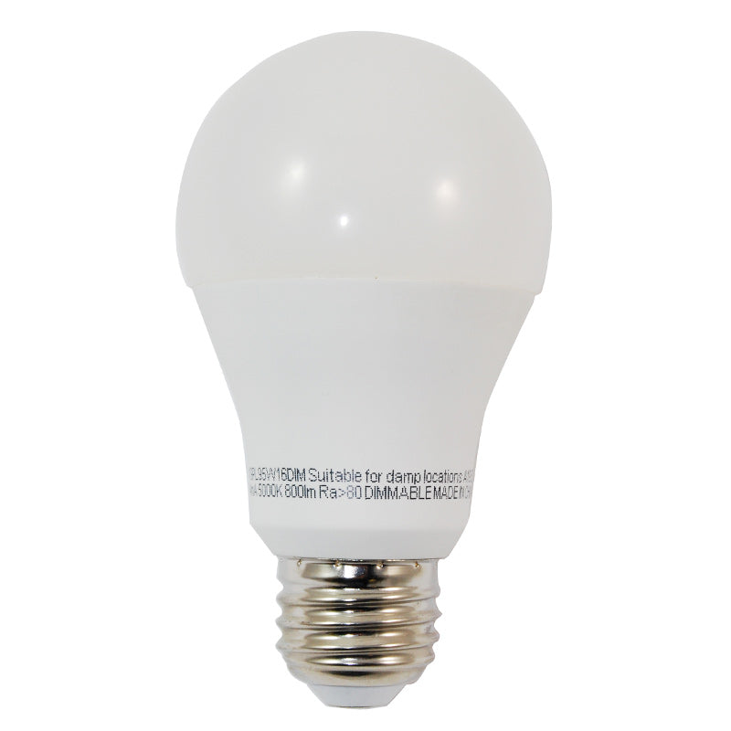 High Quality LED 9.5w Waterproof Dimmable A19 Warm White Light Bulb - 60w equiv.