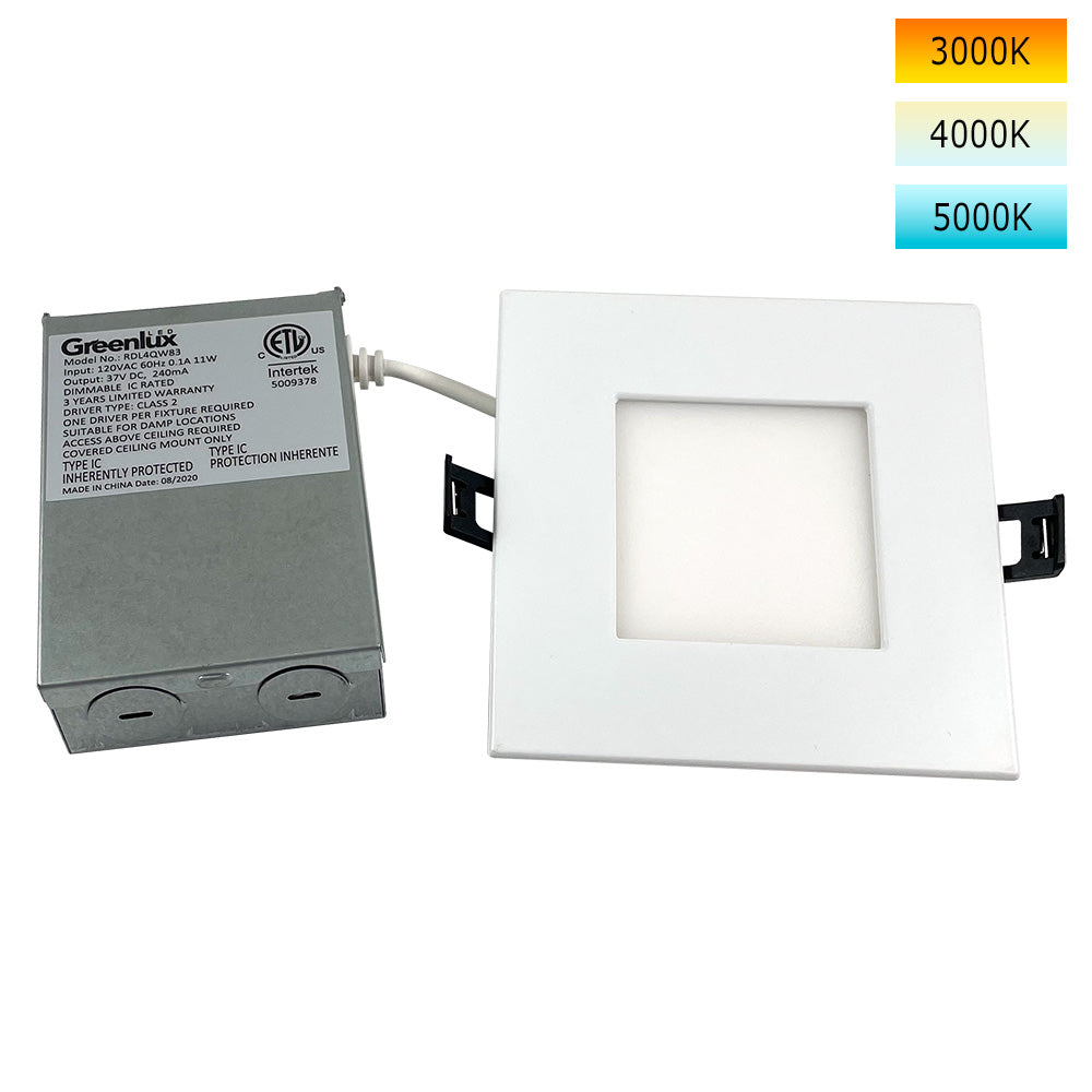 4in 11W LED Square Downlight 3K/4K/5K Selectable CCT Low Profile Dimmable - 65W Replacement