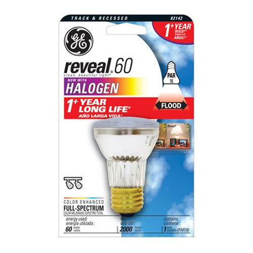 GE 60w 120v PAR16 Indoor Floodlight Long Life Reveal Halogen
