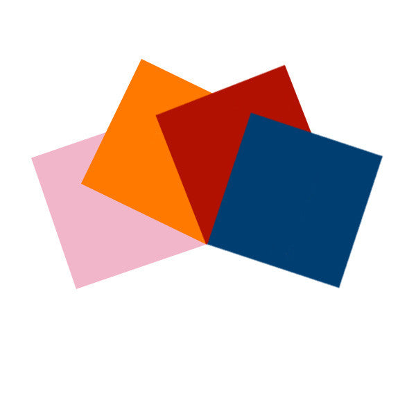 4 pcs Pre-Cut Gel Sheets 10x10in Bright Pink Golden Amber Light Red Congo Blue