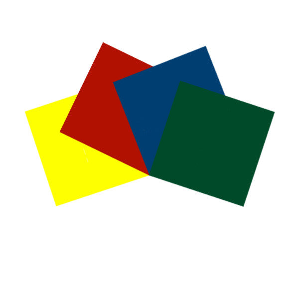 4 pcs Pre-Cut Gel Sheets 10x10in Medium Yellow, Light Red, Dark Blue, Dark Green
