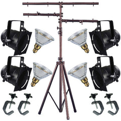 4 Black Short PAR CAN 38 120w PAR38 Flood C-Clamp Stand
