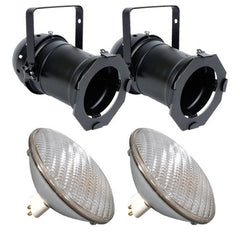2 pcs. PAR64B + 2 pcs. BulbAmerica 500PAR64 MFL Bulbs PD