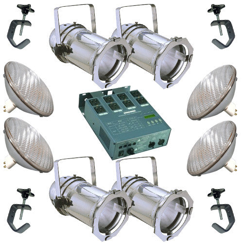 4 Silver PAR CAN 64 500w PAR64 WFL Bulbs C-Clamp Dimmer