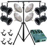 4 Black PAR CAN 64 500w PAR64 WFL O-Clamp Stand Dimmer