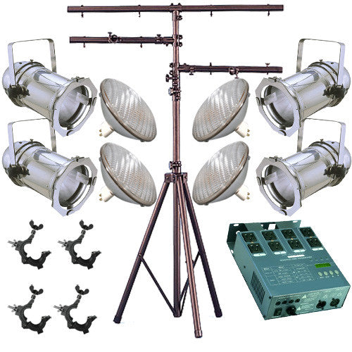 4 Silver PAR CAN 64 500w PAR64 WFL O-Clamp Stand Dimmer 1245
