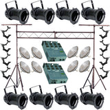 8 Black PAR CAN 64 500w PAR64 MFL O-Clamp Truss Dimmer