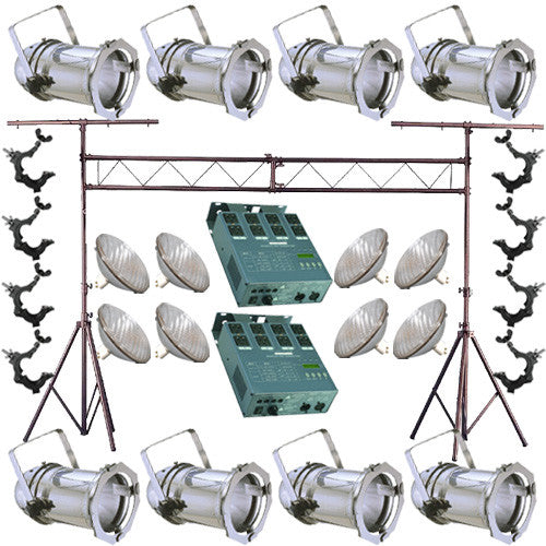 8 Silver PAR CAN 64 500w PAR64 WFL O-Clamp Truss Dimmer