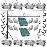 8 Silver PAR CAN 64 500w PAR64 WFL O-Clamp Dimmer Truss