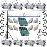8 Silver PAR CAN 64 500w PAR64 MFL C-Clamp Dimmer Truss