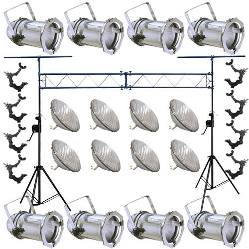 8 Silver PAR CAN 64 1000w PAR64 WFL O-Clamp Crank Truss