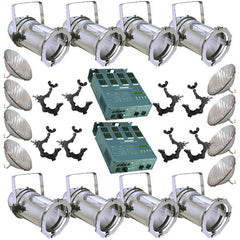8 Silver PAR CAN 56 300w PAR56 MFL 2 Dimmer O-Clamps