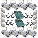 8 Silver PAR CAN 56 300w PAR56 MFL 2 Dimmer O-Clamps - BulbAmerica