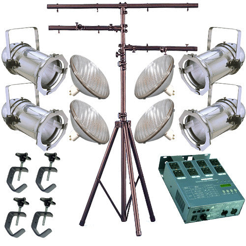 4 Silver PAR CAN 56 300w PAR56 WFL Dimmer C-Clamp Stand 2265
