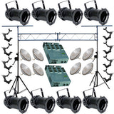 8 Black PAR CAN 56 300w PAR56 NSP Dimmer O-Clamp Truss