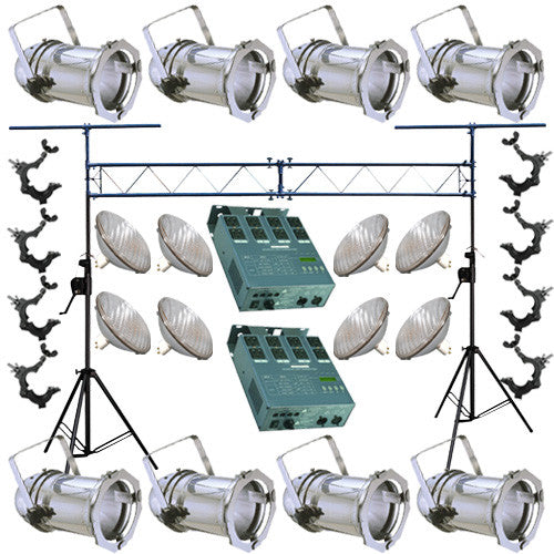 8 Silver PAR CAN 56 300w PAR56 MFL Dimmer O-Clamp Truss 2444