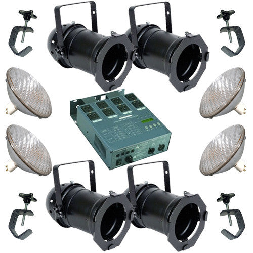 4 Black PAR CAN 56 500w PAR56 WFL Dimmer C-Clamp