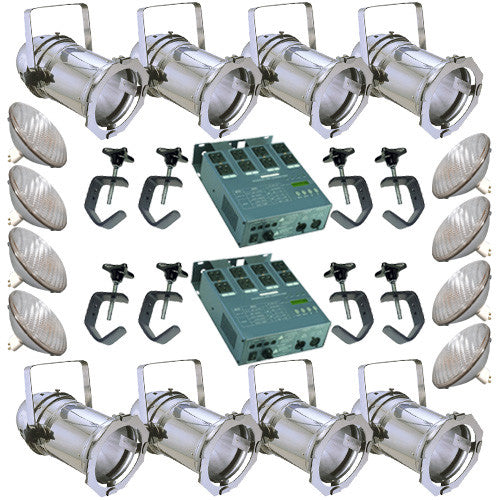 8 Silver PAR CAN 56 500w PAR56 WFL 2 Dimmer C-Clamps