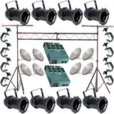 8 Black PAR CAN 56 500w PAR56 NSP Dimmer C-Clamp Truss 2823