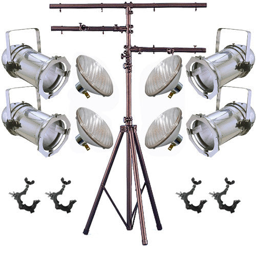 4 Silver PAR CAN 46 200w PAR46 MFL O-Clamp 12ft Stand