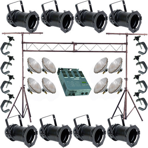 8 Black PAR CAN 46 200w PAR46 NSP Dimmer C-Clamp Truss 3422
