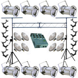 8 Silver PAR CAN 46 200w PAR46 NSP Dimmer O-Clamp Truss 3444