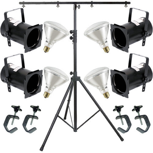 4 Black PAR CAN 38 120w BR40 Flood C-Clamp 9ft Stand