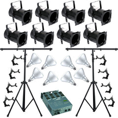 8 Black PAR CAN 38 120w BR40 FL Dimmer O-Clamp Stand 4651