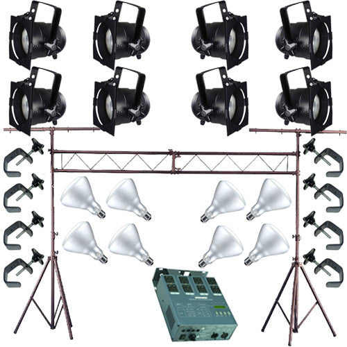 8 Short PAR CAN 38 120w BR40 FL Dimmer C-Clamp Truss