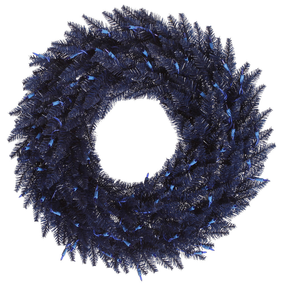 "24"" Unlit Navy Blue Fir Wreath 210 Tips"