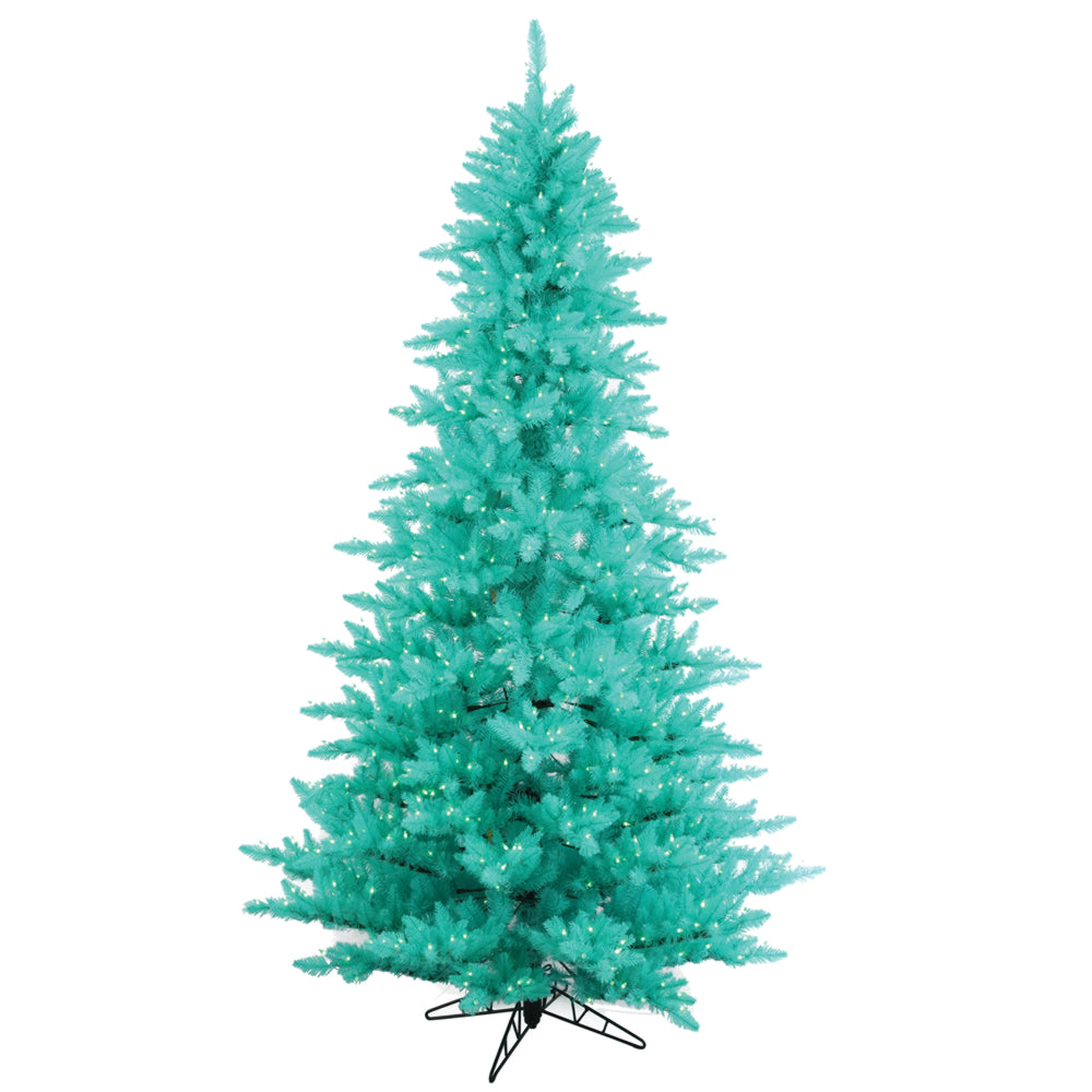 Vickerman 3' Aqua Artificial Christmas Tree w/ Aqua lights and Metal Stand