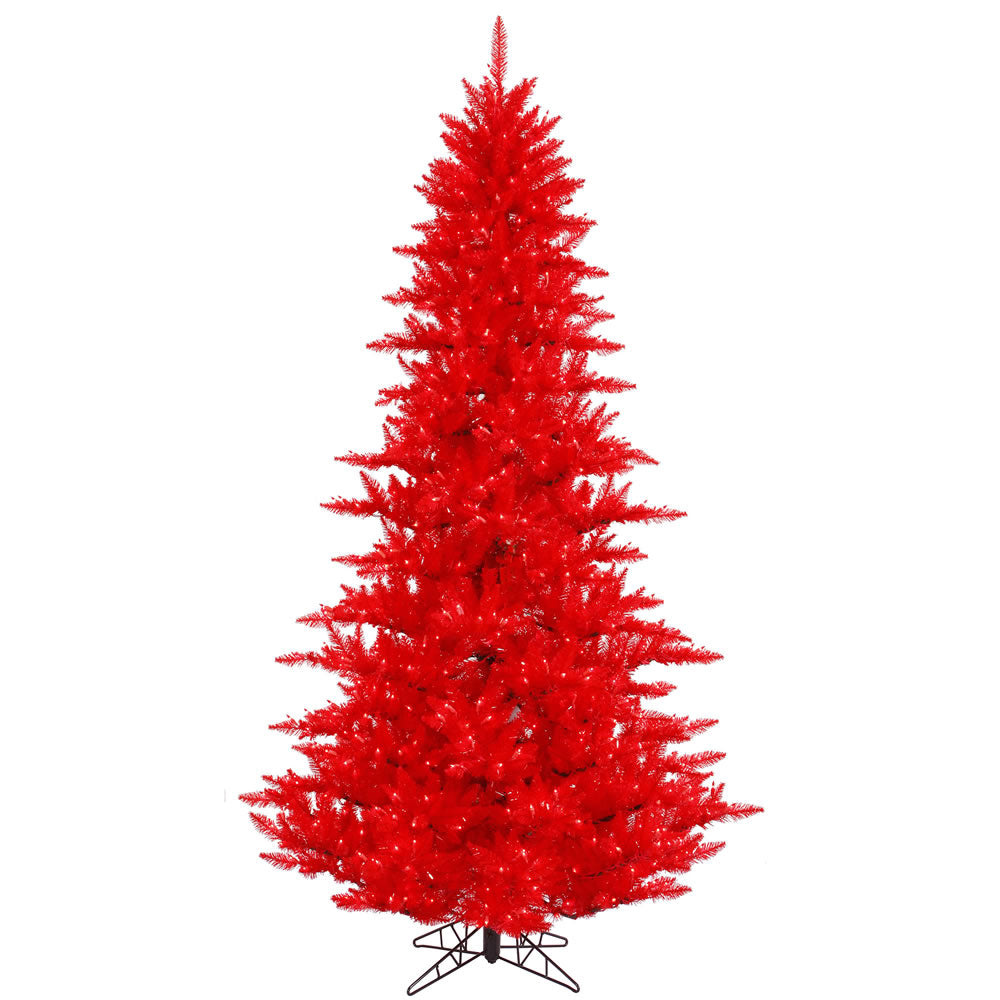 Vickerman 12Ft. Red 4631 Tips Christmas Tree 1650 Red Mini Lights