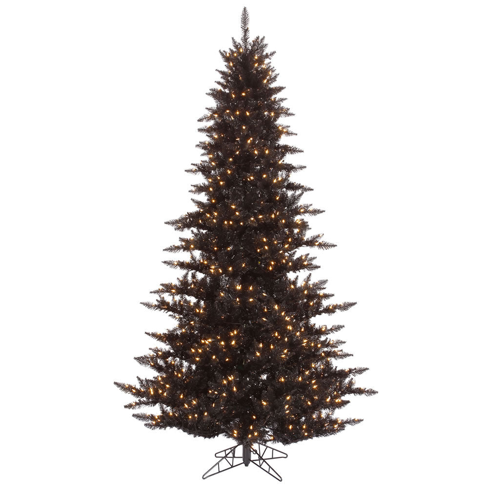 Vickerman 3' Black Fir Artificial Tree w/ Warm White Dura-Lit Italian LED Lights