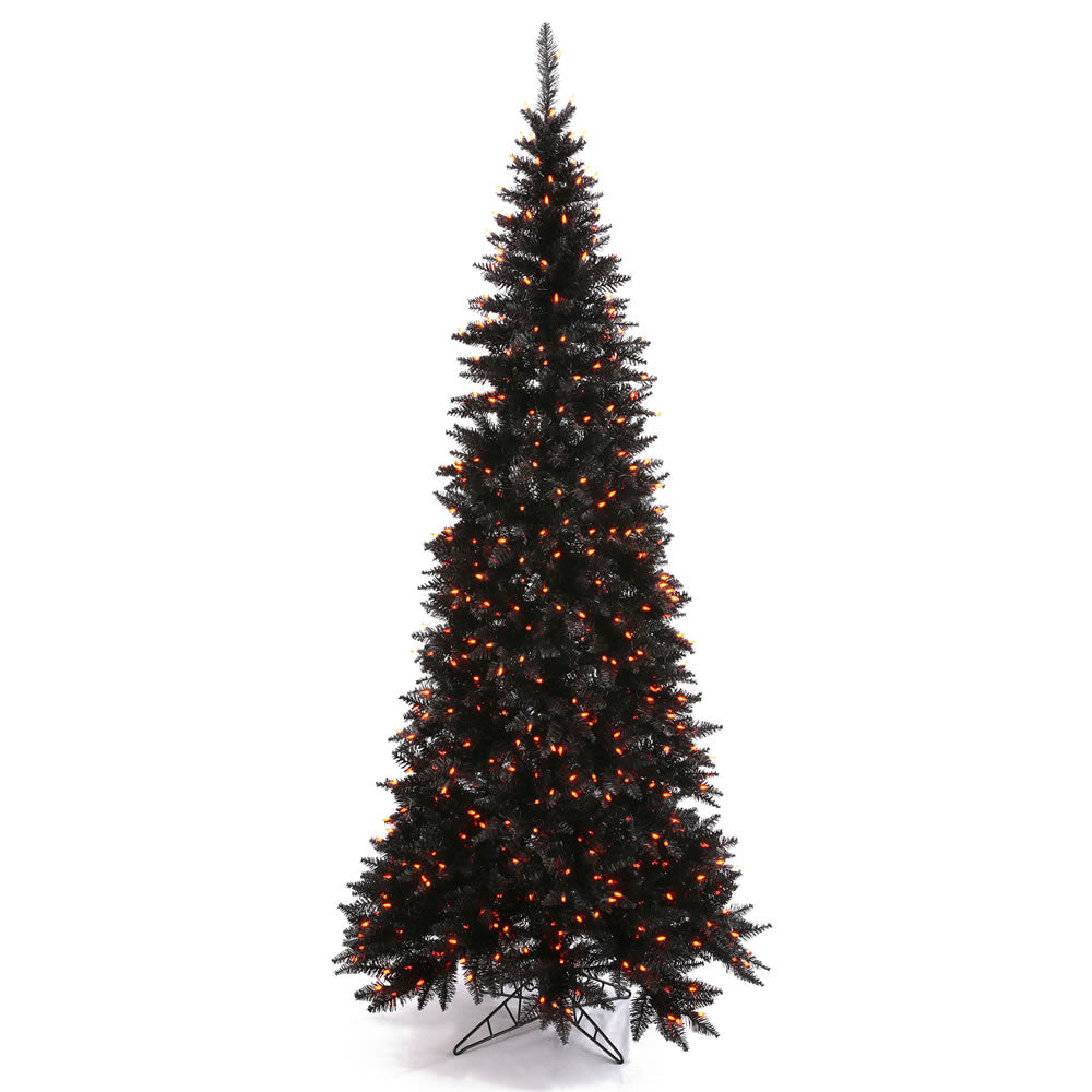 Vickerman 6.5Ft. Black 948 Tips Christmas Tree 948 Orange Mini Lights