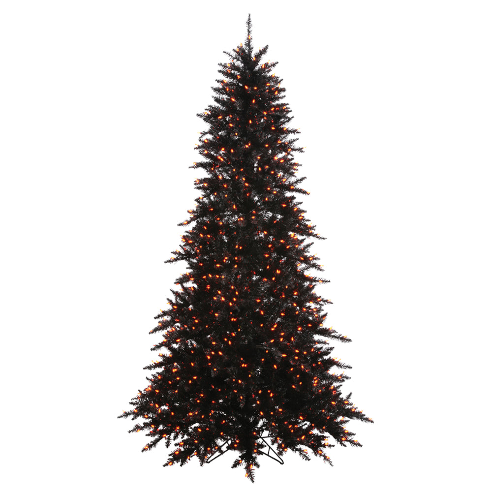 Artificial Christmas Tree Stand.Vickerman 3 Black Artificial Christmas Tree 100 Orange Lights Plastic Stand