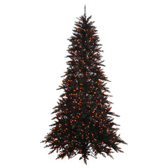 Vickerman 6.5Ft. Black 1216 Tips Christmas Tree 600 Orange Mini Lights