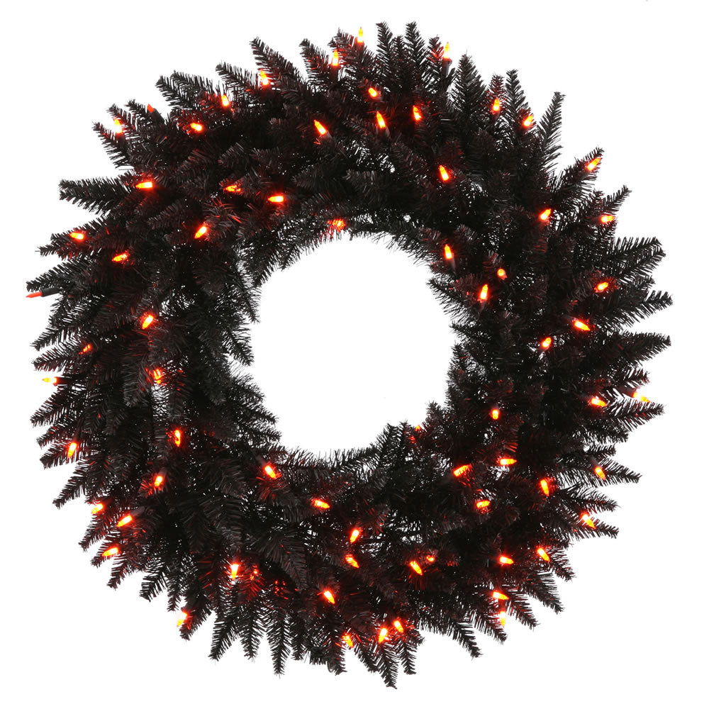 "36""Black Artificial Wreath - 320 PVC Tips 100 Orange Dura-Lit Italian LED Lights"