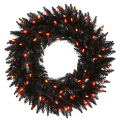 "24"" Black Fir Wreath - 50 Orange lights - 210 Tips"